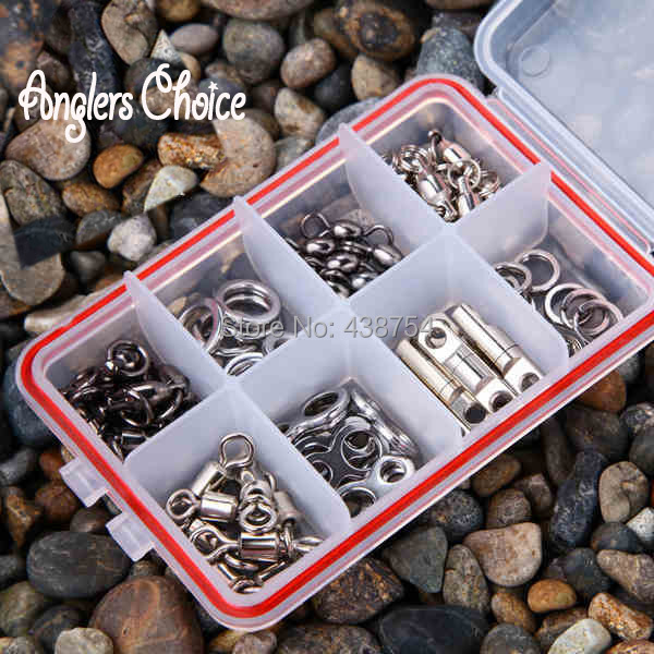 70PCS/LOT Stainless Steel Fishing Snap Barrel Sling Rolling Swivels Fishing Tackle Accessories Fishing Hooks With Box(China (Mainland))