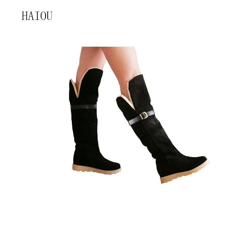 2016 Winter Fashion Scrub Snow Boots Wedges Knee-high Casual Flats Womens Autumn Winter Soft Elastic Nubuck Black Beige Yellow(China (Mainland))