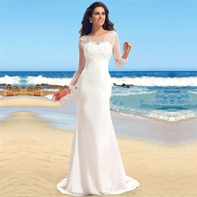 Bohemian Beach Wedding Dress 2015 Hot Sale Full Sleeve Vestidos De Novia Plus