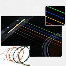 Отличный комплект из 6 радуга красочные цвет струны E-A для акустической гитары народного(China (Mainland))