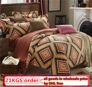 DHL free peach/brushed cotton Bedding-Set enthic trend Floral print Striped Brand Duvet Cover Set 4 Pieces Queen Size Sheet Set(China (Mainland))