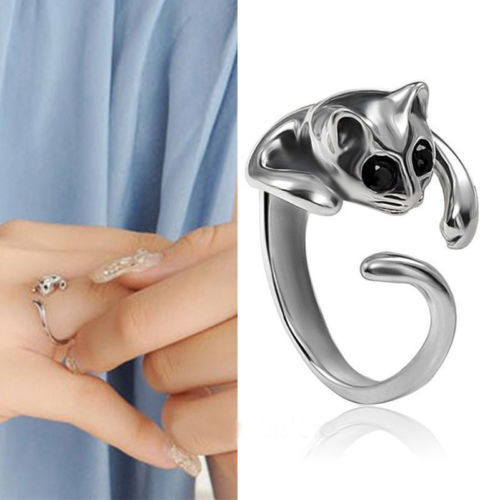 1 PCS New fashion Nice Jewelry Womens Cool Silver Plated Kitten Cat Ring With Crystal Eyes Gift(China (Mainland))