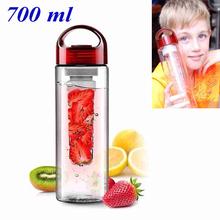 Red Cap Fruit Infusing Infuser Water Bottle Drinking Cup Sports Health Lemon Juice Make Mug Plastic 700ML(China (Mainland))