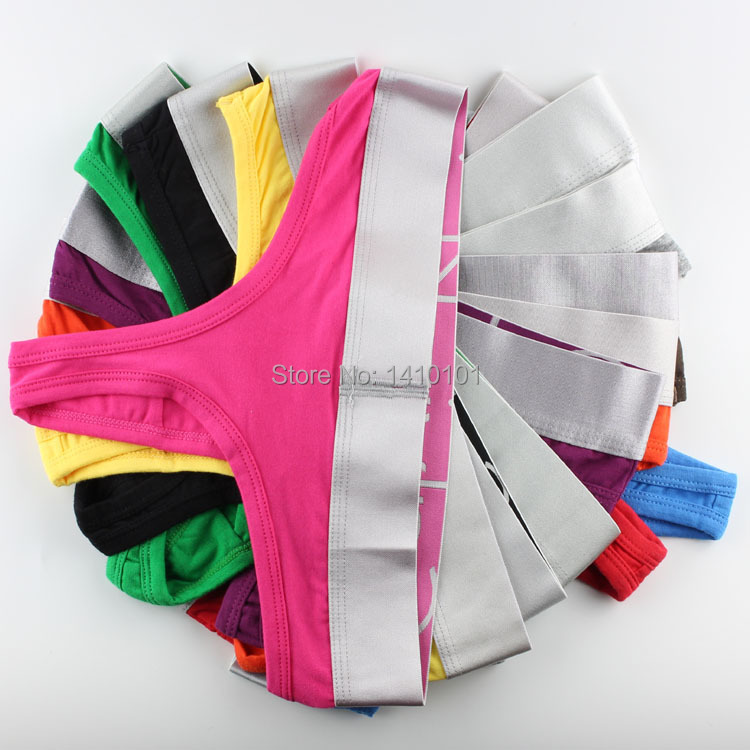 1pieces/lot women cotton brand name sliver waist band sexy thong G strings T back cuecas underwear undershirt panties 11colors(China (Mainland))