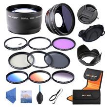 52mm 0.45X WIDE ANGLE + 2.2X TELEPHOTO LENS +UV CPL FLD ND4 Macro Close up+4+10 Lens &Graduated Color Lens for DSLR Cameras(China (Mainland))