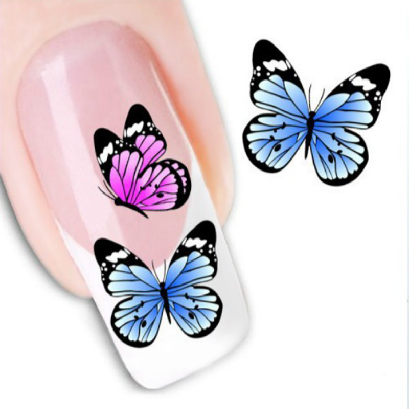 1PC Water Stickers For Nails Design DIY Watermark Butterflies Tip Nail Art Decorations Water Transfer Sticker Nails Decal Beauty(China (Mainland))