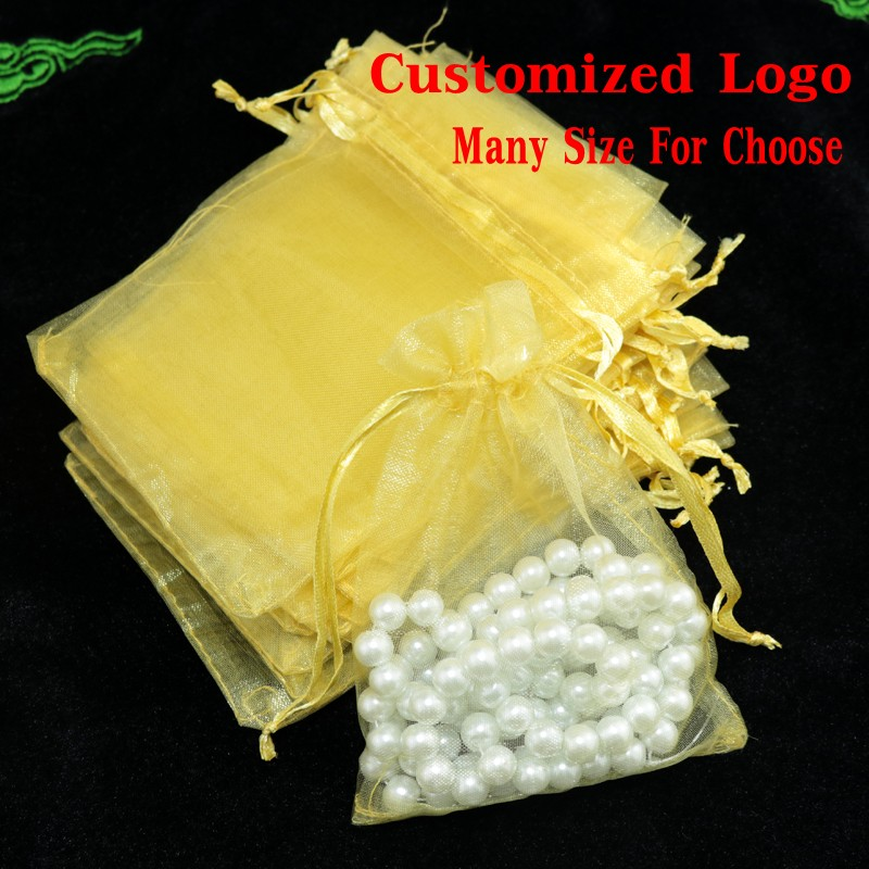 Wholesale 100pcs Gold Organza Bag 11x16cm Cosmetic Jewelry Gift Packaging Drawstring Bag Cute Organza Gift Bags & Pouches(China (Mainland))