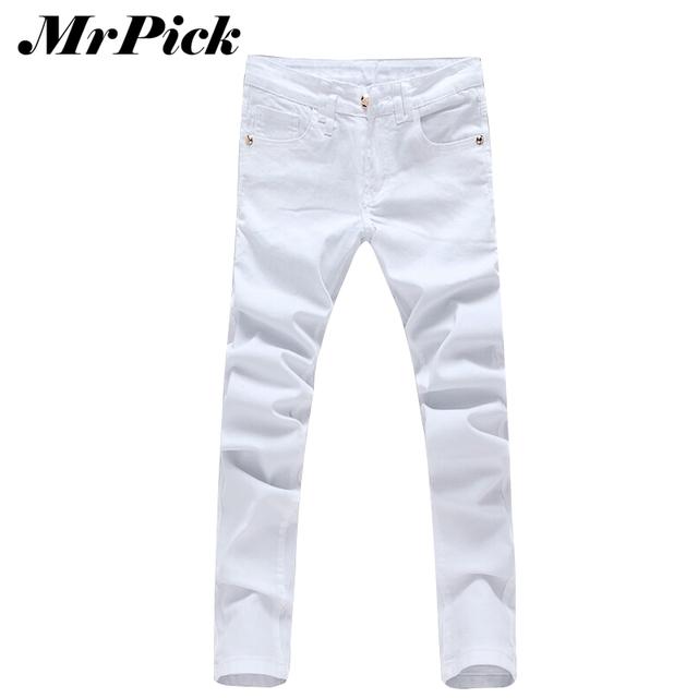 Мужчины свободного покроя белый животных украшения джинсы 2015 мода весна популярные ...