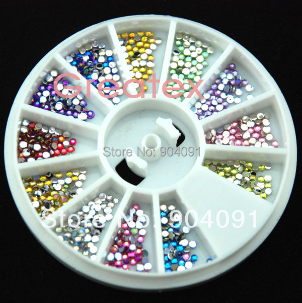 2014 NEW Arrvial 1.5MM AB Color 600pcs 12 Colors Nail Art rhinestones Decoration For UV Gel Acrylic Systems+Freeship(China (Mainland))