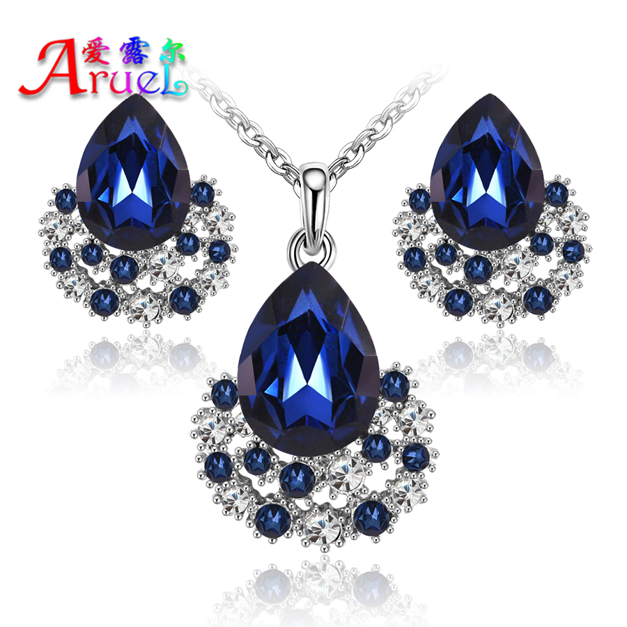 New Fashion Austria Crystal Earrings Necklace Sets Platinum Plated Women Bridal Classic Wedding rhinestone romantic Jewelry