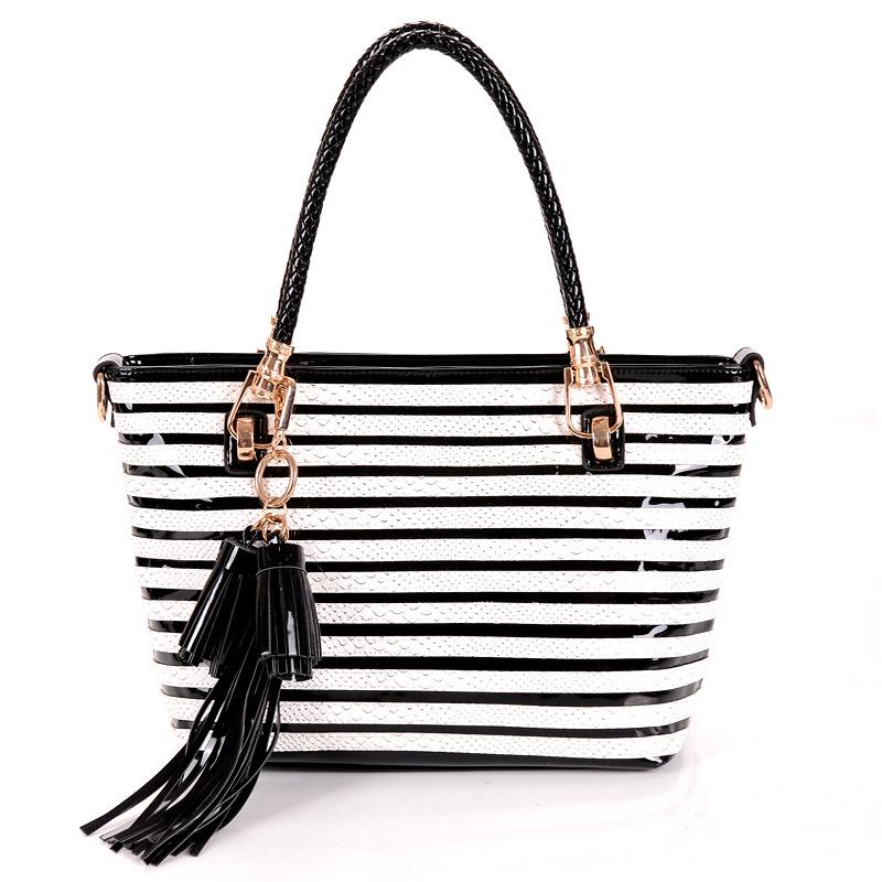 2015 Designer Women Handbags Leather Shoulder Crossbody Bag Black and White Women Bag Tassel Tote Bag Messenger Hand Bag(China (Mainland))