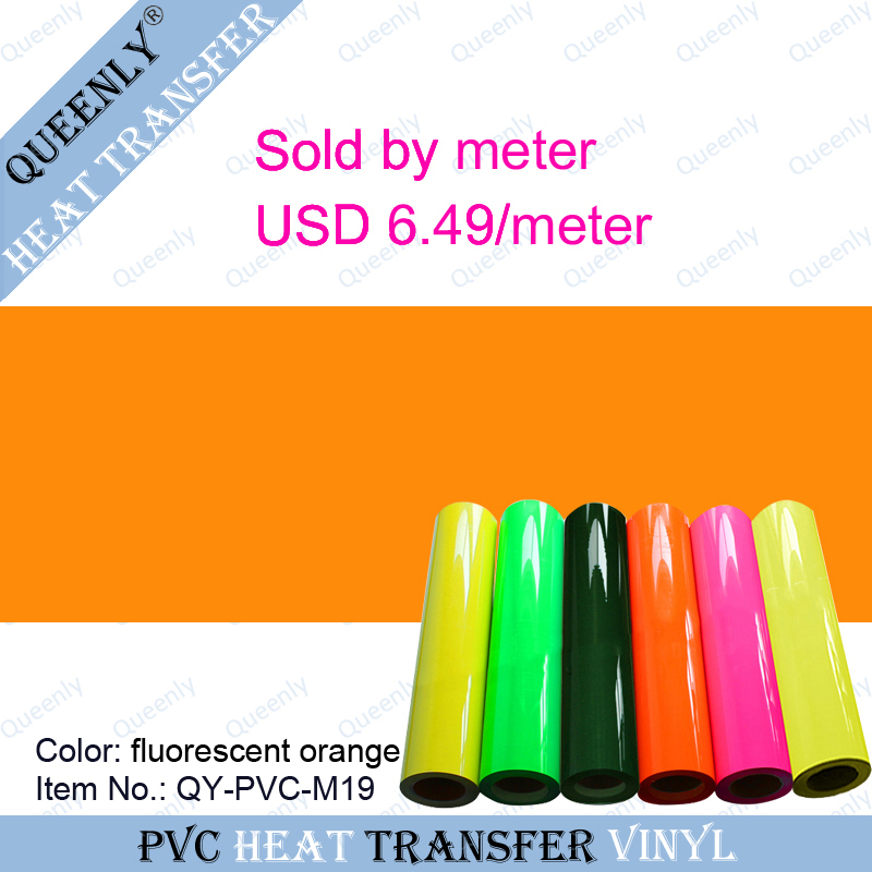 Fluorescent orange PVC heat transfer vinyl cutting heat transfer vinyl sold by meter 5 meters/pack width 50cm(China (Mainland))
