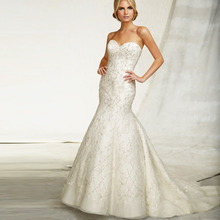 2015 Elegent Custom Made Sweetheart Removable jacket Mermaid Court Train Hidden Zipper Back Wedding Dresses Bridal