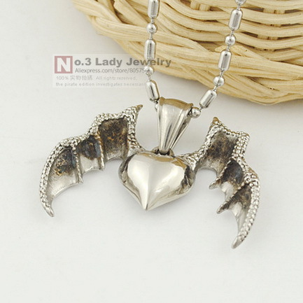 2015 New Cool 316L Stainless Steel Devil Dragon Wings Heart Pendant Necklace for Mens Jewellery, Wholesale Free shipping WP448(China (Mainland))