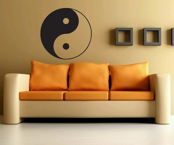 JJRUI Wall Decals Ying Yang Decal Mandala Vinyl Stickers Yoga Studio Decor Living Room Bedroom Decal Wall Art Sticker 22x22in(China (Mainland))