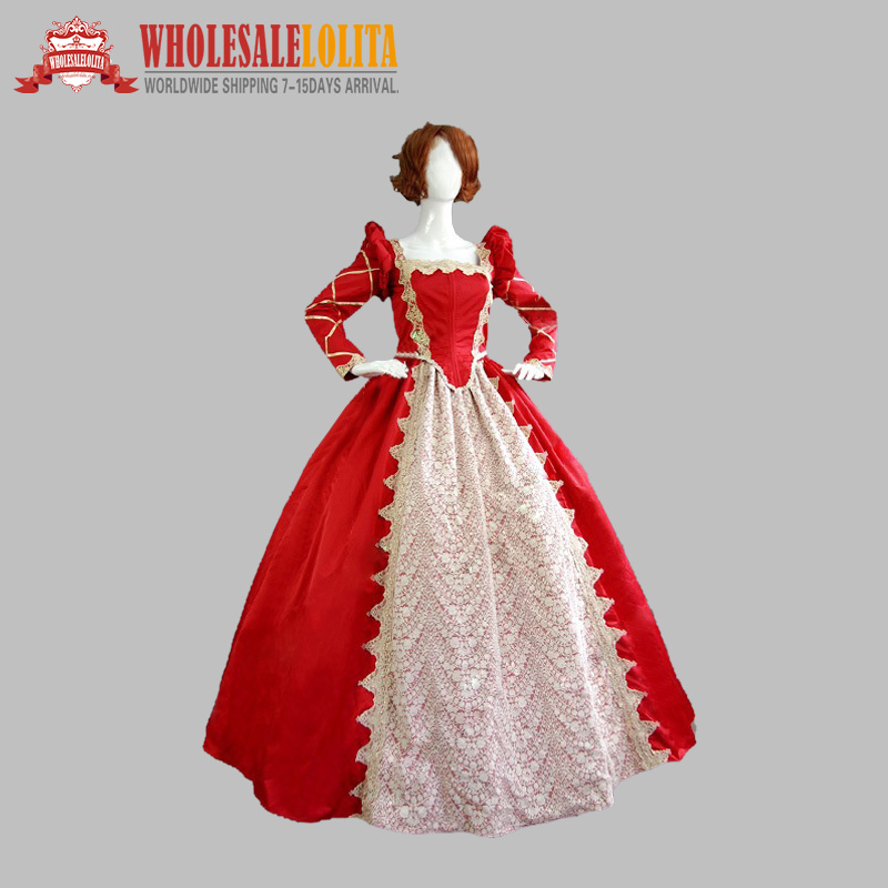 Red Vintage Long Sleeves Victorian Dress party Gown(China (Mainland))