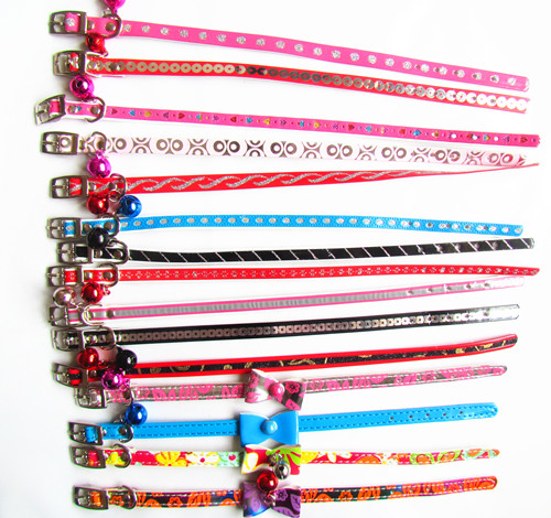 12pcs 1 cm*30cm S size mixed pet dog pu leather collar products free shipping(China (Mainland))