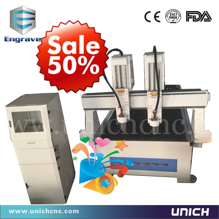 Discount price distributor wanted double head 1325 cnc router/automatic 3d wood carving cnc machine(China (Mainland))