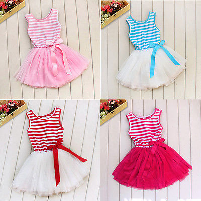 NEW Baby Toddler Infant Girls Kids Stripe Tutu Party Dress Christmas 4 Colors(China (Mainland))