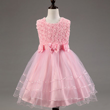 Summer girls party dresses roses bow dress sleeveless vests Flower girl dress Ball Gown infant clothing(China (Mainland))
