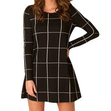 Fabulous 2016 Women Long Sleeve Tartan Check Print Flared Swing Dress