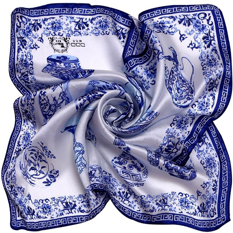 LING/Porcelain Print Bandana Square Silk Scarf,Factory Direct 53*53CM Woman Favorite Foulard Kerchief Necklace Satin Scarf#1064(China (Mainland))
