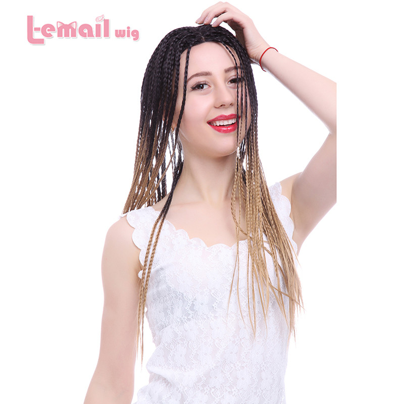 Фотография L-email Black Blonde Ombre 60cm Long Brazilian Women Lace Front Wigs Heat Resisting Hair Wigs LC78
