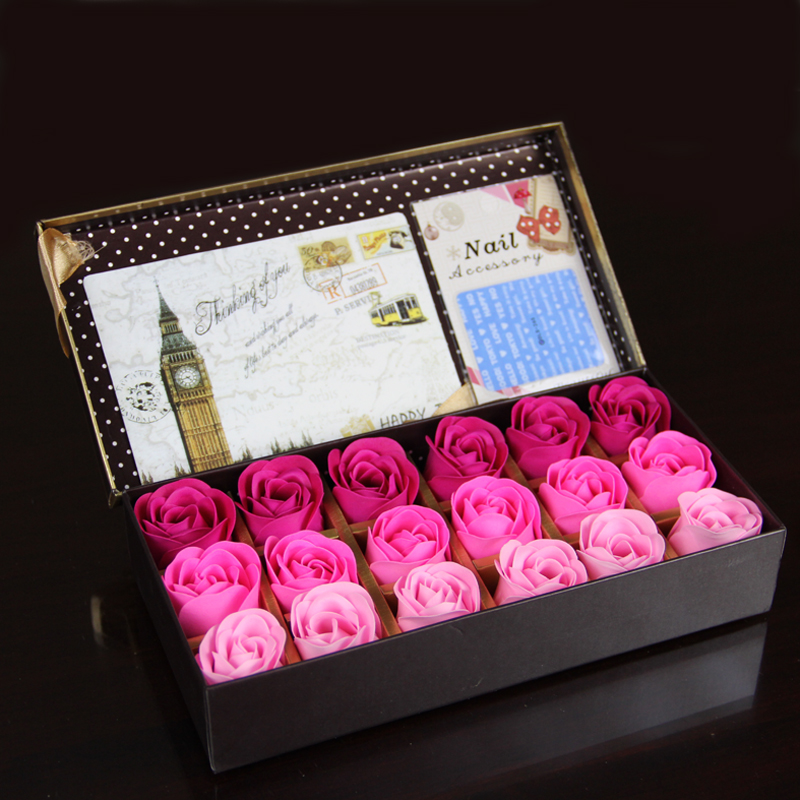 18pcs Scented Soap Rose flower Essential Oil Set with Gift Box romantic Lover Valentine's Day Wedding Gifts body bath flowers(China (Mainland))