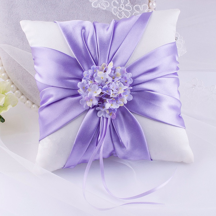 1PC Dainty purple artifical flower ring pillow holder satin wedding favor ring holder wedding/party decoration gift 20*20cm(China (Mainland))