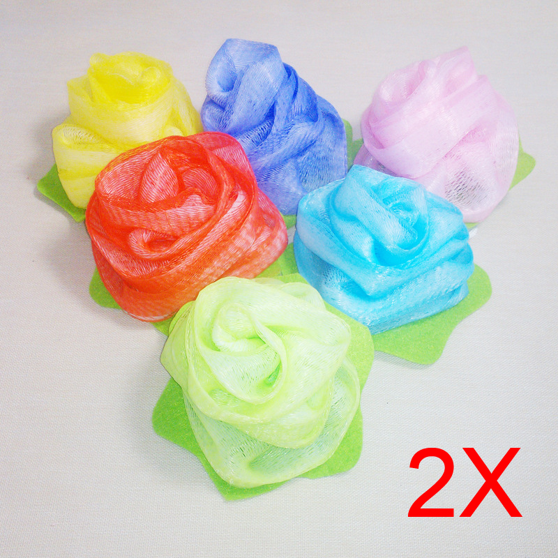 Towel Bath Ball Bath Tubs Shower Body Cleaning Mesh Shower Wash Nylon Sponge Product Loofah Flower Exfoliating 2pcs(China (Mainland))