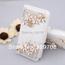 Luxury Bling Flower Bear Tower Zebra Mirror Rhinestone Flip Leather Case with Wallet Card Slot for Samsung Galaxy Note 2 N7100()