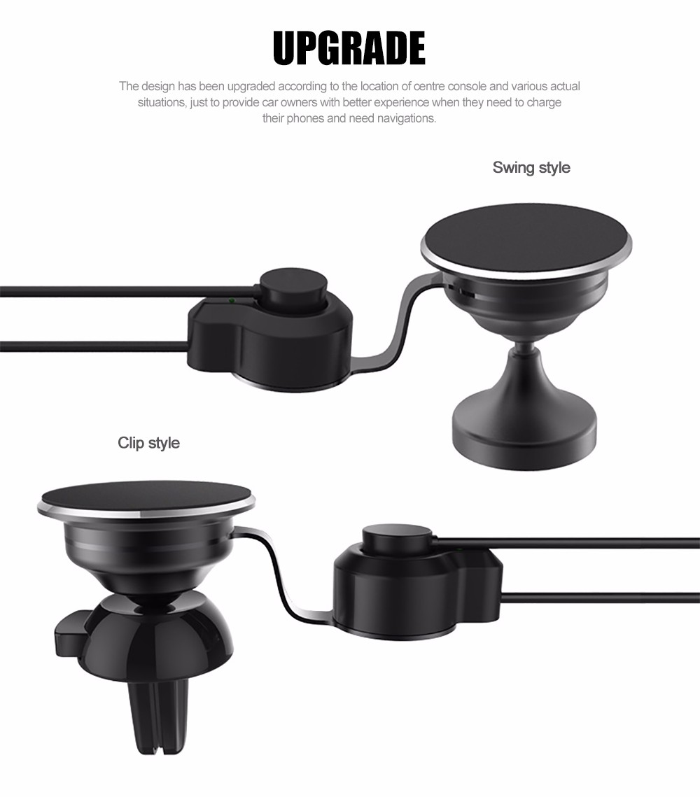 Universal Car Phone Holder Magnetic Stand 360 Rotation Adjustable Mobile Phone Holder with Charging USB Cable for iPhone Android