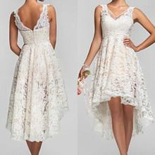 2015 Plus Size High Low Wedding Dresses Vintage Lace V Neck Back Garden Bridal Gowns Custom Made Bridesmaid Dresses Short Beach(China (Mainland))