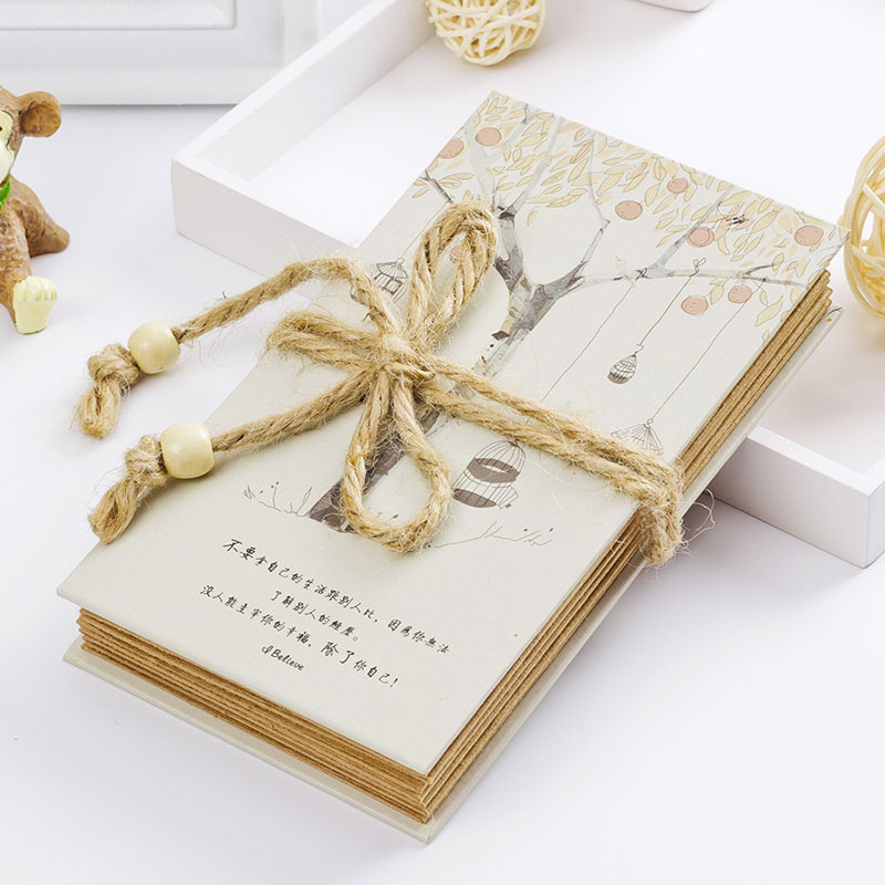 2015 new recipe book gift for grandmother Handmade DIY Vintage Photo Album with rope hot sale(China (Mainland))