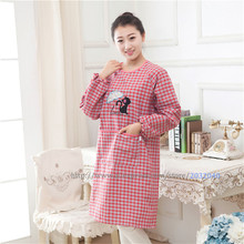 Cotton Large Long Sleeve Free Size Gird Cat Pattern Woman Chef Waiter Adjustable Apron Overalls Smock Kitchen Accessories Tools