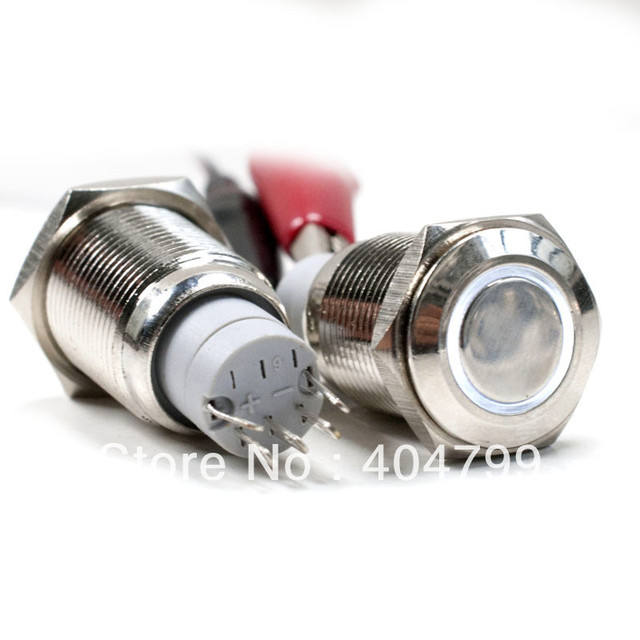 Car Metal Stainless Switch 12V Momentary or Latching Push Button White Led 16mm, 3425/3433