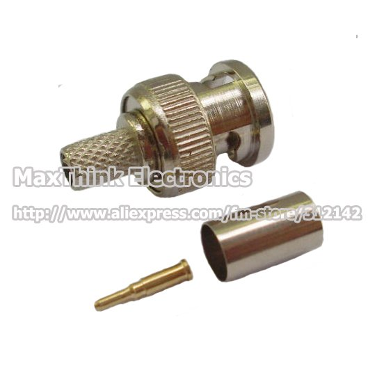 BNC Male RG 59 COAXIAL Crimp Cable ,CCTV BNC male 3-piece Crimp Connector Plugs RG59,100Set , Free shipping(China (Mainland))