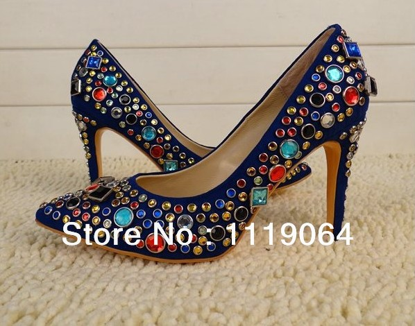 Здесь можно купить  Free shipping 2014 New Hot Selling JC High Quality Colorful Crystal High Heels Pointed Toe Suede Pumps Women Wedding Shoes  Обувь
