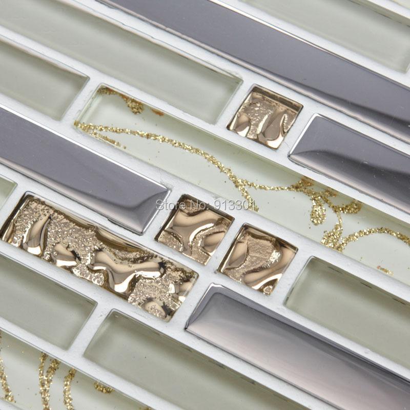 Crystal glass tile sheets interlocking kitchen backsplash - Mirror mosaic tile backsplash ...