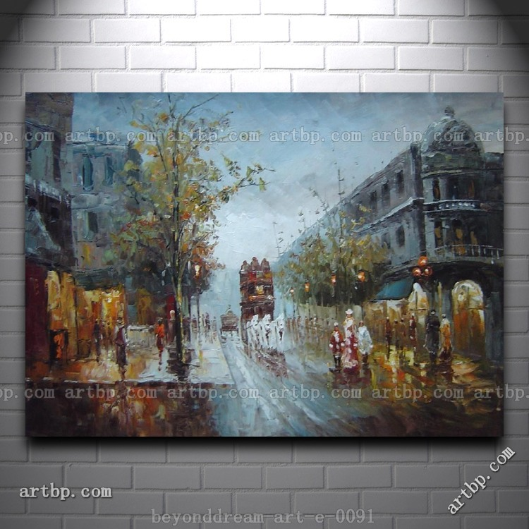 American city street scene in 39 s oil painting for Home decor 86th street