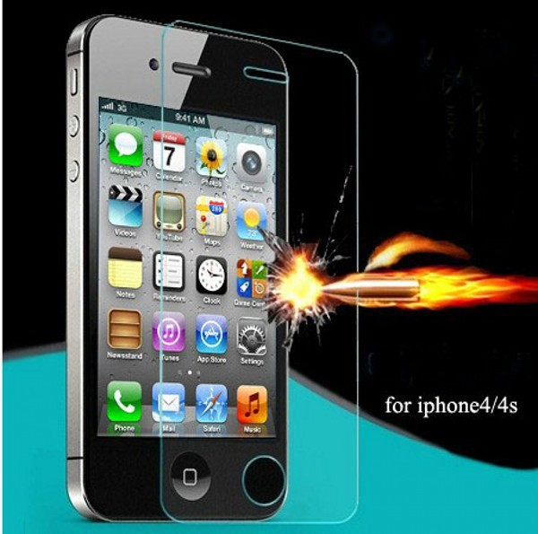 Premium 0.26mm 9H Explosion Proof Clear Toughened Tempered Glass Screen Protector For iPhone 4 4S Protective Film Glass(China (Mainland))