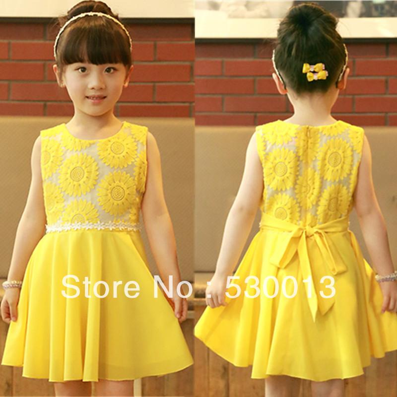 Cute Baby Girl in Yellow Dress 2013 New Girls' Cute Dress