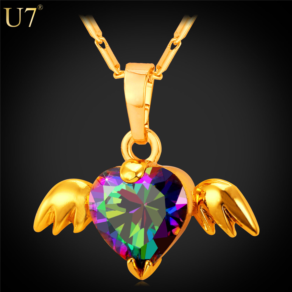 U7 New Angel Wings Necklace For Gift Romantic 18K Real Gold Plated Colorful Crystal Necklace Pendant Women Heart Jewelry P778(China (Mainland))