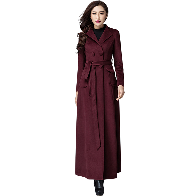 Women Winter Double Breasted Maxi Long Woolen Coats 2015 New Pocket Patchwork Cashmere Overcoat With Blet Abrigos Mujer 1678(China (Mainland))
