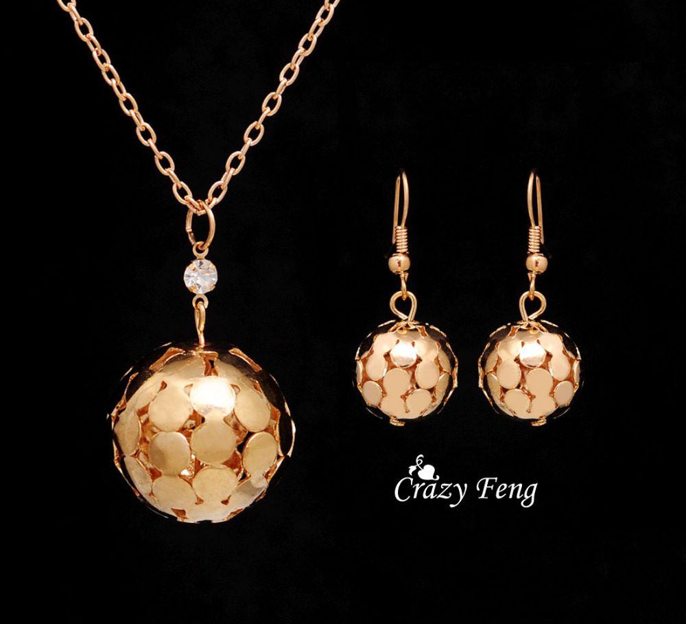 free shipping 18k gold filled jewelry sets necklace