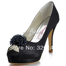 Sexy Black High Heel Shoes EP11054-IPF Peep Toe Beading Satin Red Evening Party Dress Shoes Free Shipping Women's Wedding Pumps(China (Mainland))