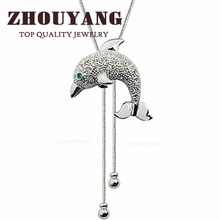 Top Quality Lovely Dolphin Sweater Chain 18K White Gold Plated Pendant Necklace Jewelry Austrian Crystal Wholesale ZYM009 ZYM025(China (Mainland))
