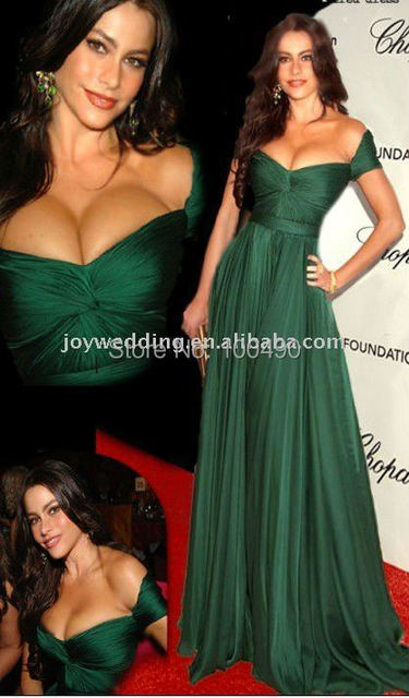 O021 Cannes Film Festival Oscar Award Peacock Green Real picture photo Evening Dresses 2015 Homecoming Chiffon Celebrity Dresses