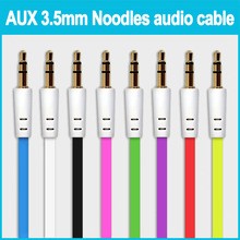 FOR iPhone 4 5 5S 6 6plus 3.5mm to 3.5mm Colorful flat type Car Aux audio Cable Extended Audio Auxiliary Cable wholesale