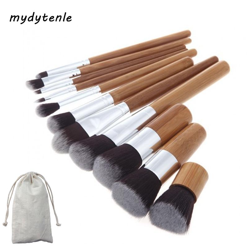 Mydytenle 11Pcs Natrual Bamboo Makeup Brushes Set Soft Blending Powder Blush Eyeshadow Foundation Brush Cosmetics Make up Tool(China (Mainland))